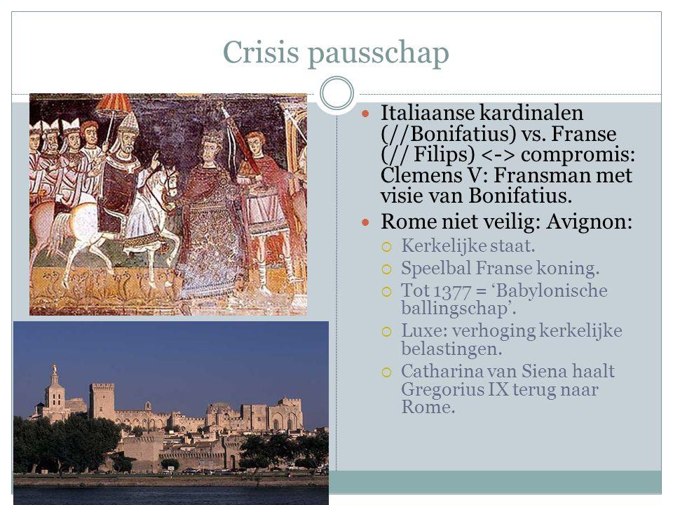 Crisis pausschap Italiaanse kardinalen (//Bonifatius) vs.