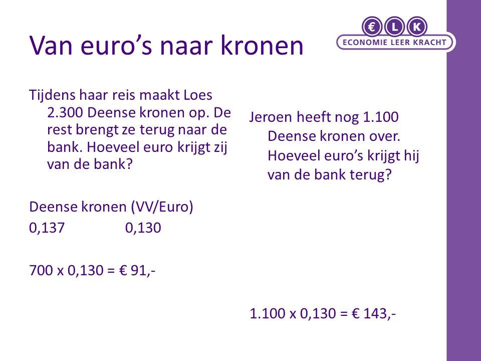 Van euro's naar kronen Tijdens haar reis maakt Loes 2.300 Deense kronen op. De rest brengt ze terug naar de bank. Hoeveel euro krijgt zij van de bank?