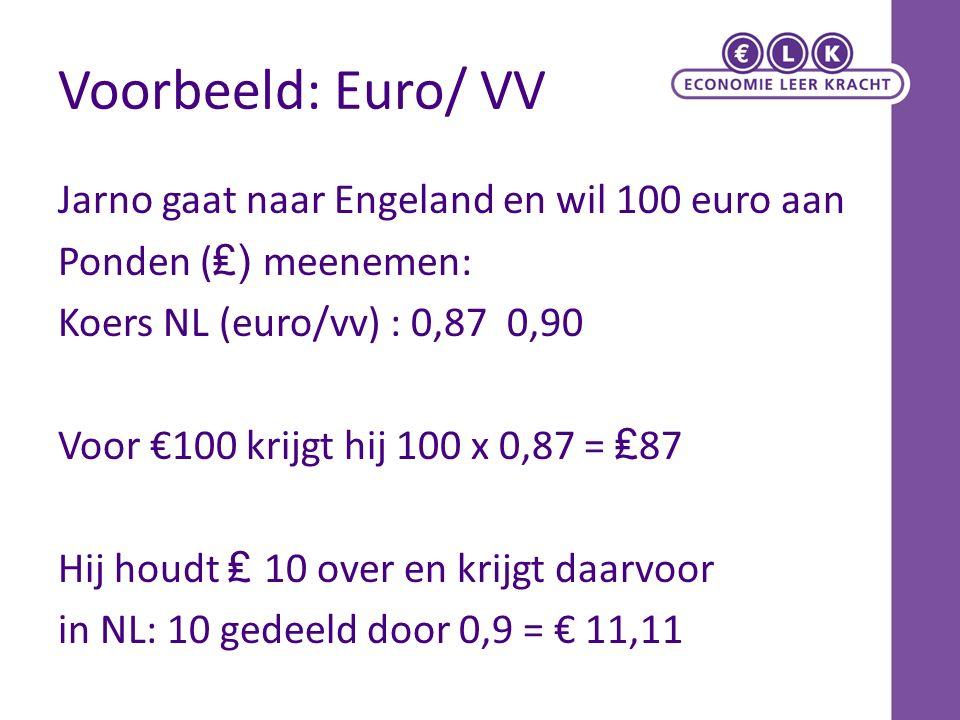 Voorbeeld: Euro/ VV Jarno gaat naar Engeland en wil 100 euro aan Ponden ( ₤) meenemen: Koers NL (euro/vv) : 0,87 0,90 Voor €100 krijgt hij 100 x 0,87 = ₤ 87 Hij houdt ₤ 10 over en krijgt daarvoor in NL: 10 gedeeld door 0,9 = € 11,11