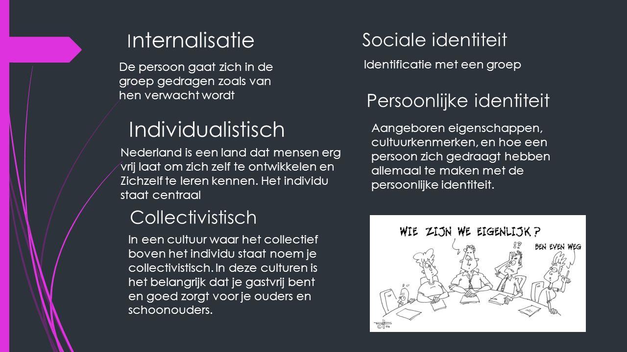 I nternalisatie De persoon gaat zich in de groep gedragen zoals van hen verwacht wordt Sociale identiteit Identificatie met een groep Persoonlijke identiteit Aangeboren eigenschappen, cultuurkenmerken, en hoe een persoon zich gedraagt hebben allemaal te maken met de persoonlijke identiteit.
