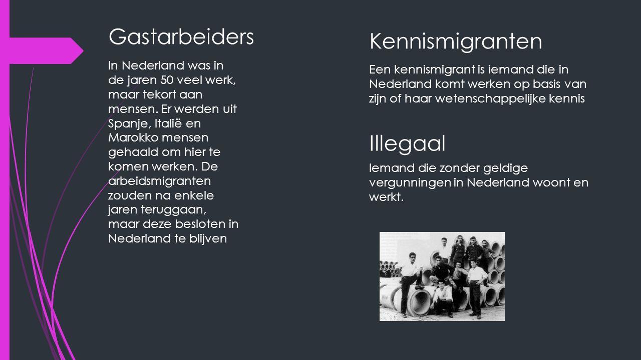 Gastarbeiders In Nederland was in de jaren 50 veel werk, maar tekort aan mensen. Er werden uit Spanje, Italië en Marokko mensen gehaald om hier te kom