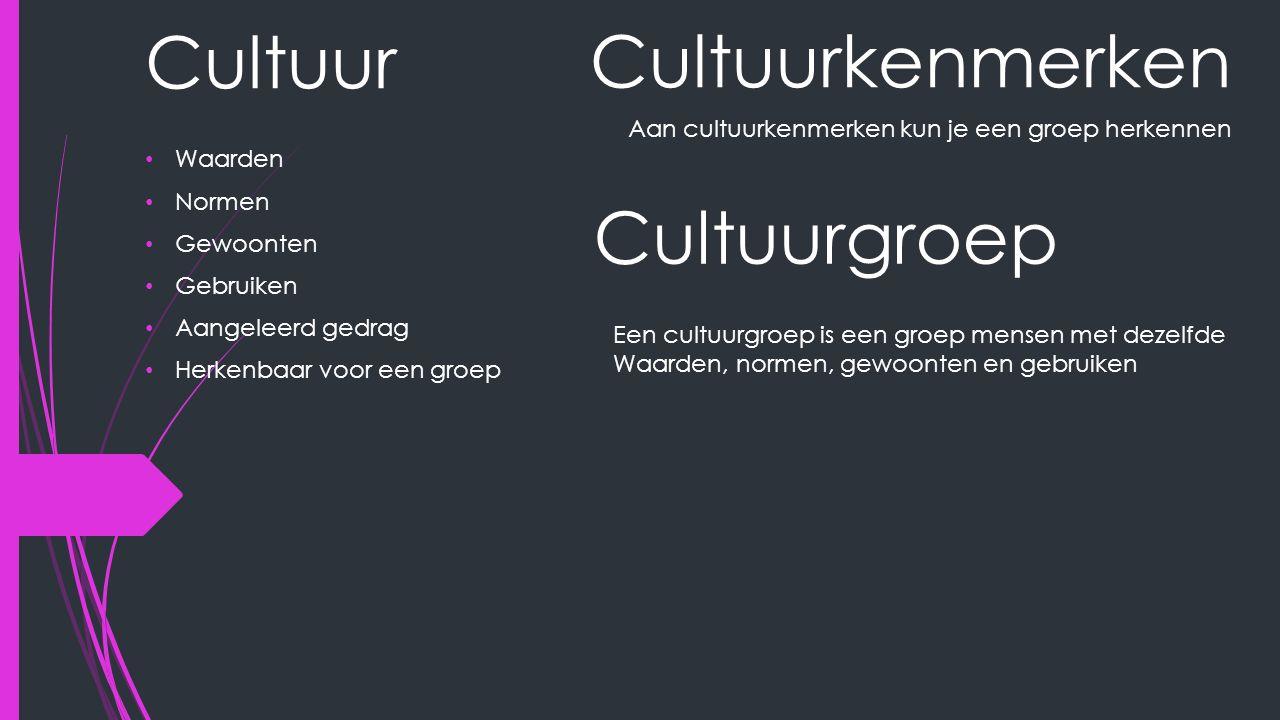 Cultuur Waarden Normen Gewoonten Gebruiken Aangeleerd gedrag Herkenbaar voor een groep Cultuurkenmerken Aan cultuurkenmerken kun je een groep herkennen Cultuurgroep Een cultuurgroep is een groep mensen met dezelfde Waarden, normen, gewoonten en gebruiken
