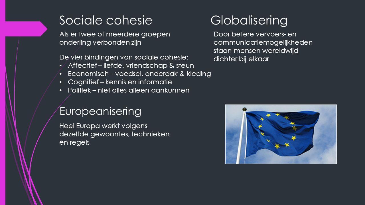 Sociale cohesie Als er twee of meerdere groepen onderling verbonden zijn De vier bindingen van sociale cohesie: Affectief – liefde, vriendschap & steun Economisch – voedsel, onderdak & kleding Cognitief – kennis en informatie Politiek – niet alles alleen aankunnen Globalisering Door betere vervoers- en communicatiemogelijkheden staan mensen wereldwijd dichter bij elkaar Europeanisering Heel Europa werkt volgens dezelfde gewoontes, technieken en regels