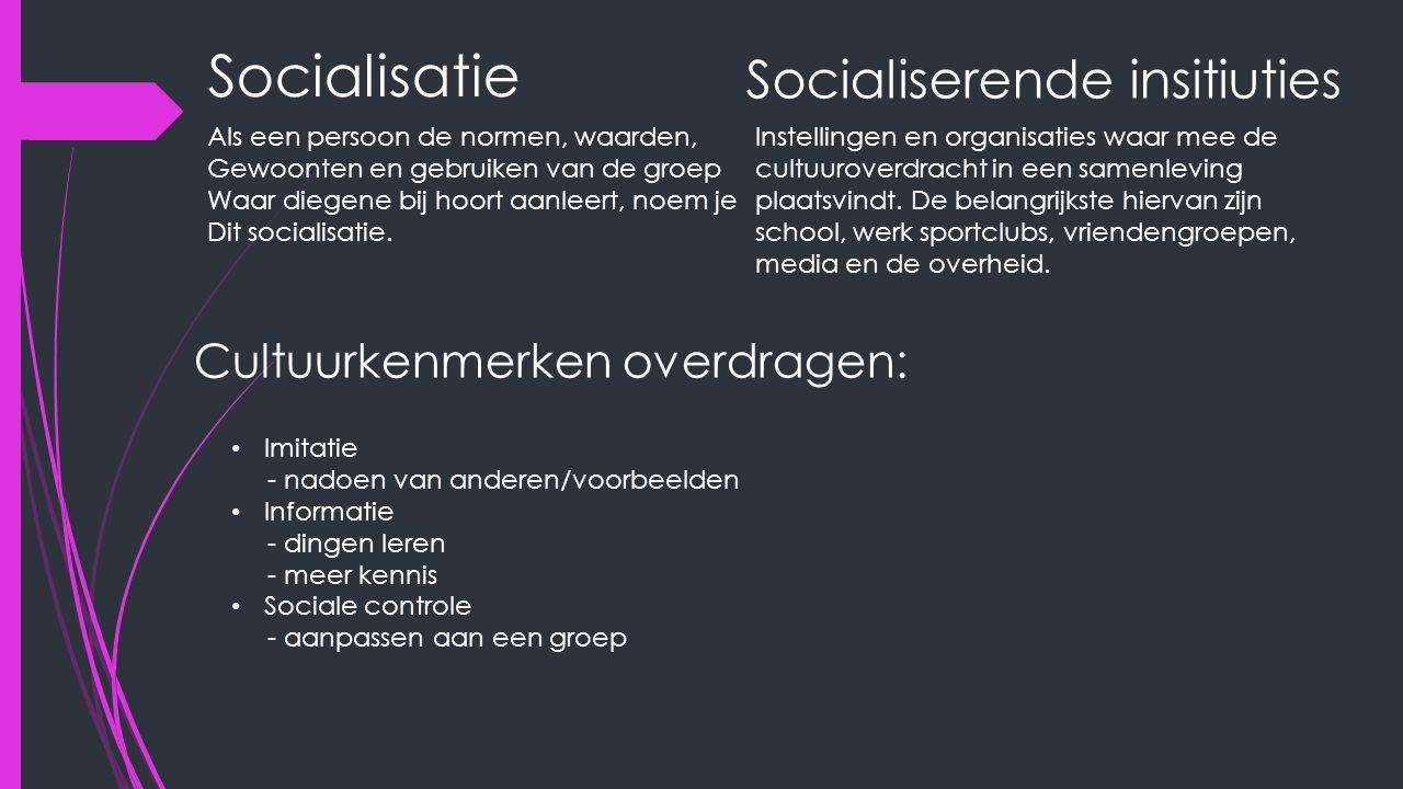 Socialisatie Als een persoon de normen, waarden, Gewoonten en gebruiken van de groep Waar diegene bij hoort aanleert, noem je Dit socialisatie. Social