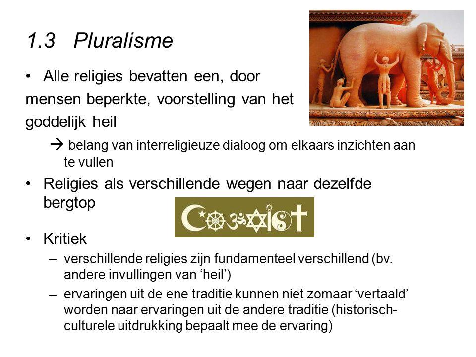 1.3Pluralisme Alle religies bevatten een, door mensen beperkte, voorstelling van het goddelijk heil  belang van interreligieuze dialoog om elkaars in