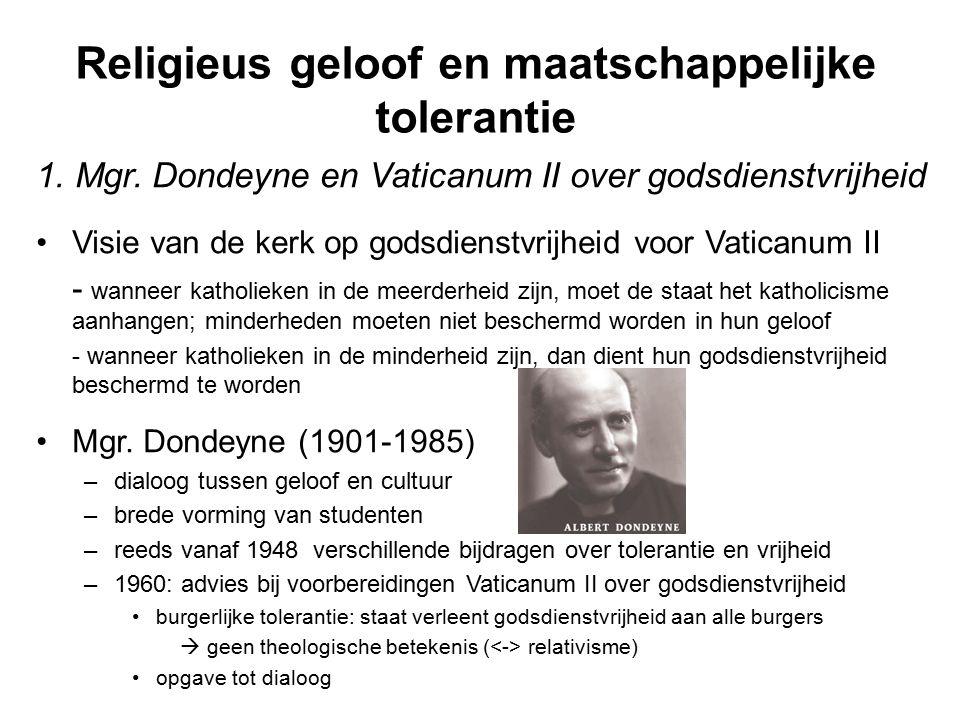 Religieus geloof en maatschappelijke tolerantie 1. Mgr. Dondeyne en Vaticanum II over godsdienstvrijheid Visie van de kerk op godsdienstvrijheid voor