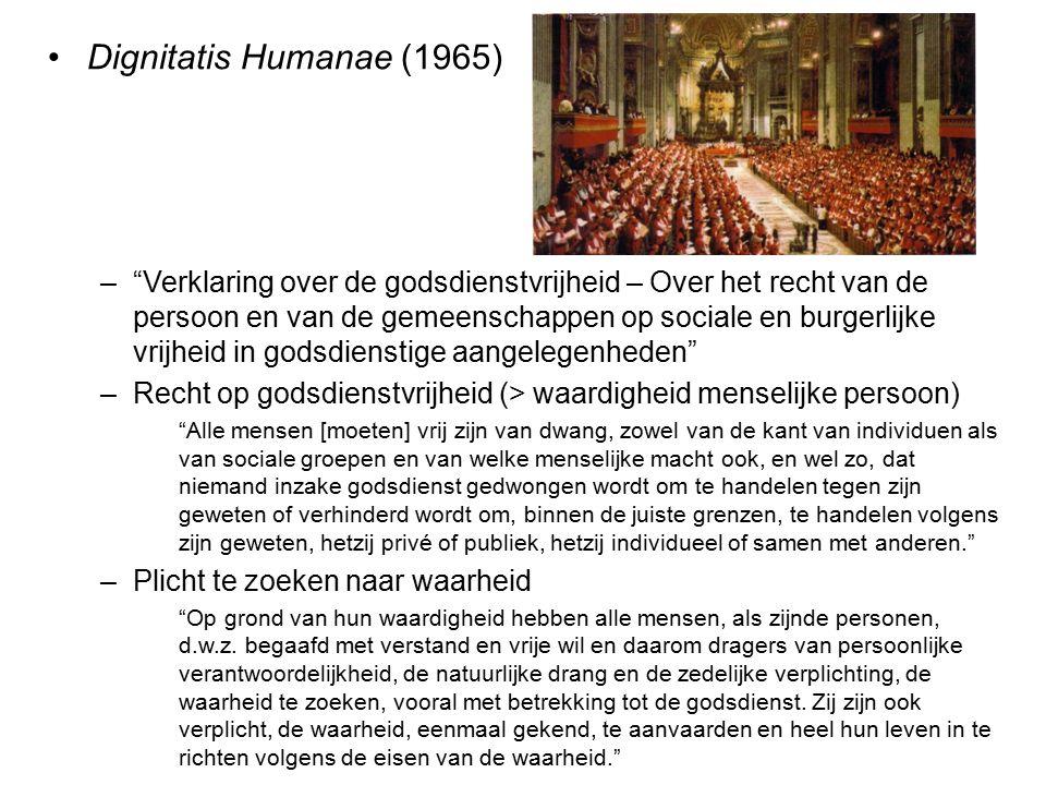 """Dignitatis Humanae (1965) –""""Verklaring over de godsdienstvrijheid – Over het recht van de persoon en van de gemeenschappen op sociale en burgerlijke v"""