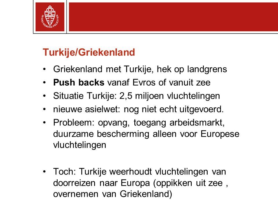 Turkije/Griekenland Griekenland met Turkije, hek op landgrens Push backs vanaf Evros of vanuit zee Situatie Turkije: 2,5 miljoen vluchtelingen nieuwe asielwet: nog niet echt uitgevoerd.