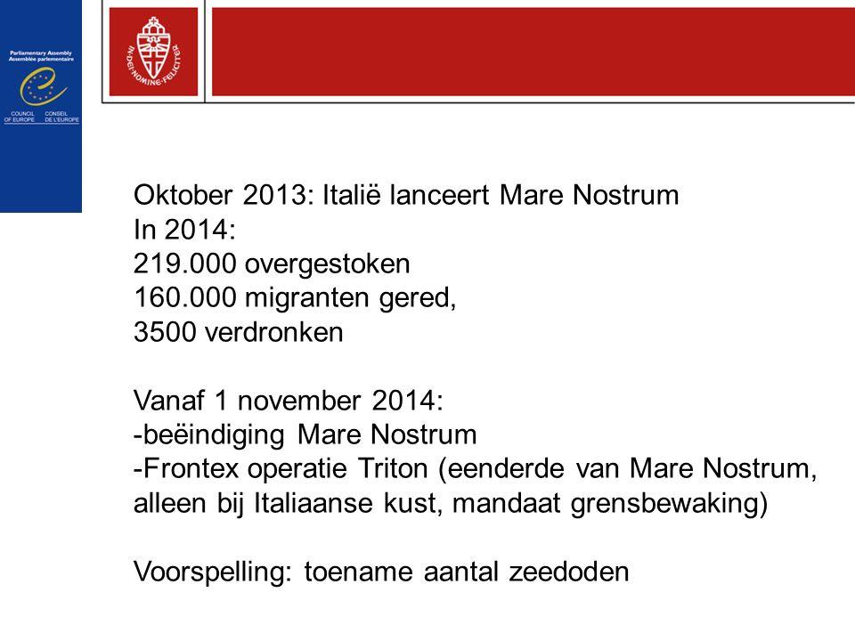Oktober 2013: Italië lanceert Mare Nostrum In 2014: 219.000 overgestoken 160.000 migranten gered, 3500 verdronken Vanaf 1 november 2014: -beëindiging Mare Nostrum -Frontex operatie Triton (eenderde van Mare Nostrum, alleen bij Italiaanse kust, mandaat grensbewaking) Voorspelling: toename aantal zeedoden