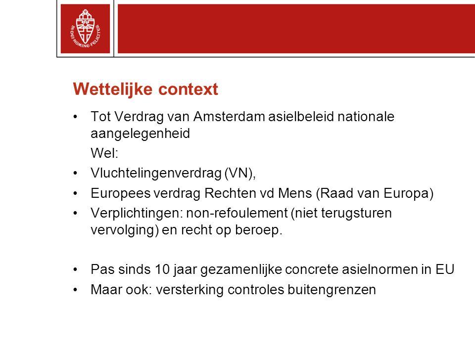 Wettelijke context Tot Verdrag van Amsterdam asielbeleid nationale aangelegenheid Wel: Vluchtelingenverdrag (VN), Europees verdrag Rechten vd Mens (Raad van Europa) Verplichtingen: non-refoulement (niet terugsturen vervolging) en recht op beroep.