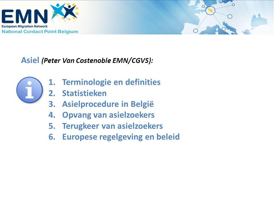 Asiel (Peter Van Costenoble EMN/CGVS): 1.Terminologie en definities 2.Statistieken 3.Asielprocedure in België 4.Opvang van asielzoekers 5.Terugkeer va