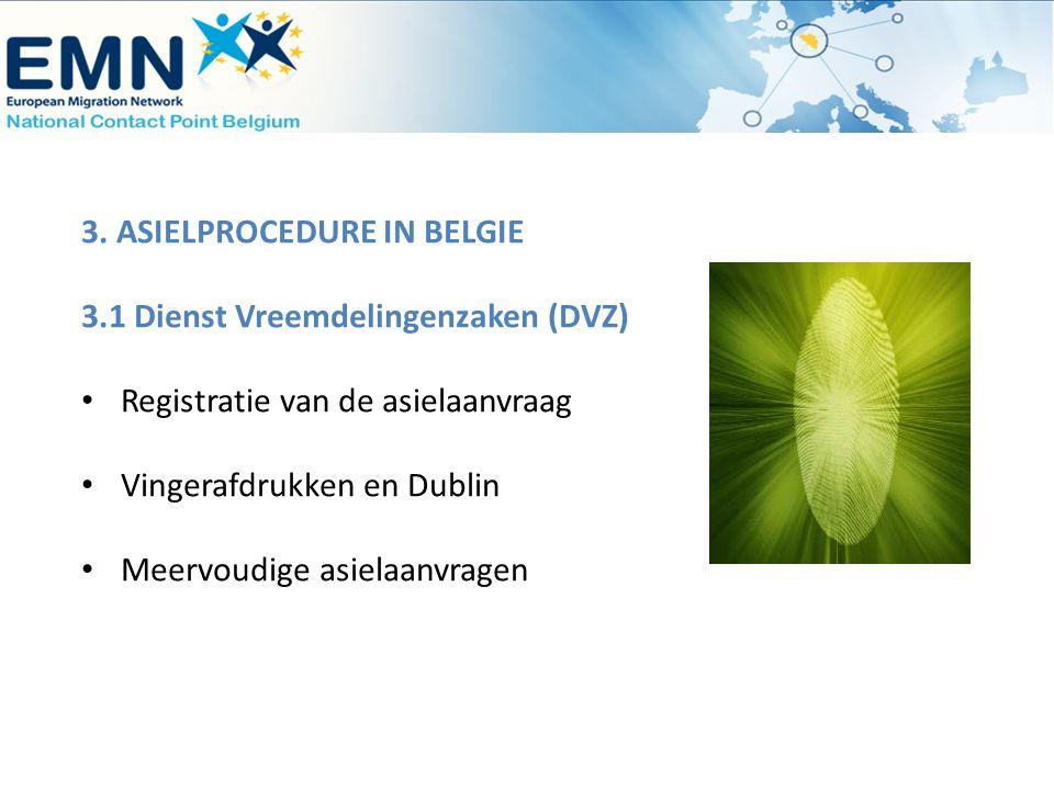 3. ASIELPROCEDURE IN BELGIE 3.1 Dienst Vreemdelingenzaken (DVZ) Registratie van de asielaanvraag Vingerafdrukken en Dublin Meervoudige asielaanvragen