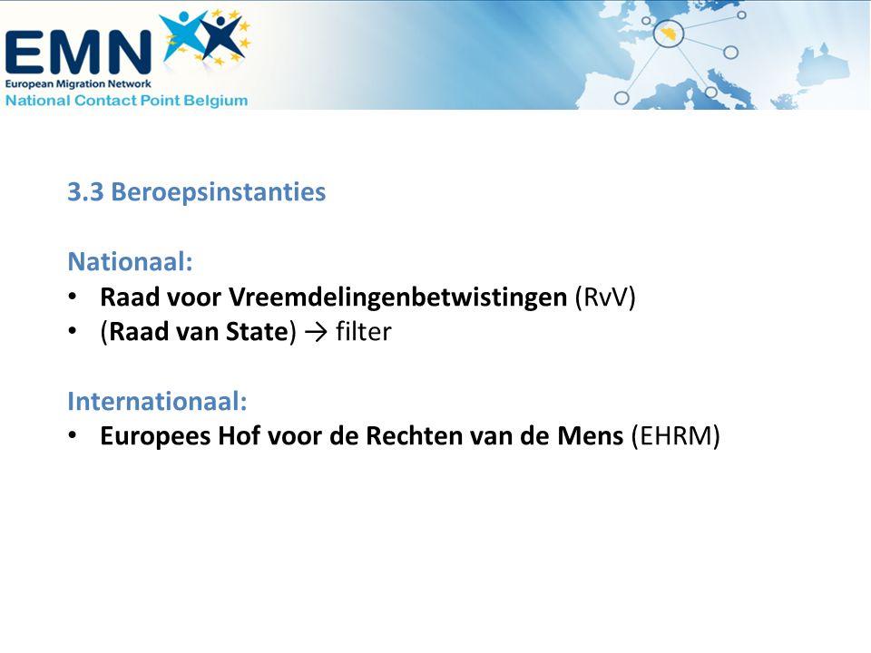 3.3 Beroepsinstanties Nationaal: Raad voor Vreemdelingenbetwistingen (RvV) (Raad van State) → filter Internationaal: Europees Hof voor de Rechten van