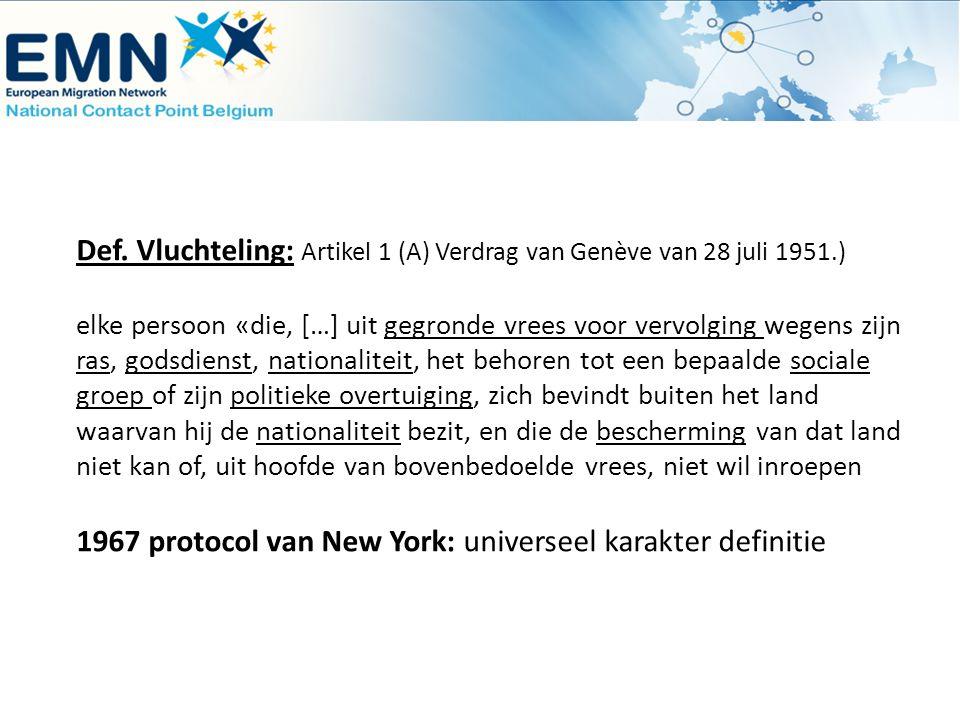 Def. Vluchteling: Artikel 1 (A) Verdrag van Genève van 28 juli 1951.) elke persoon «die, […] uit gegronde vrees voor vervolging wegens zijn ras, godsd