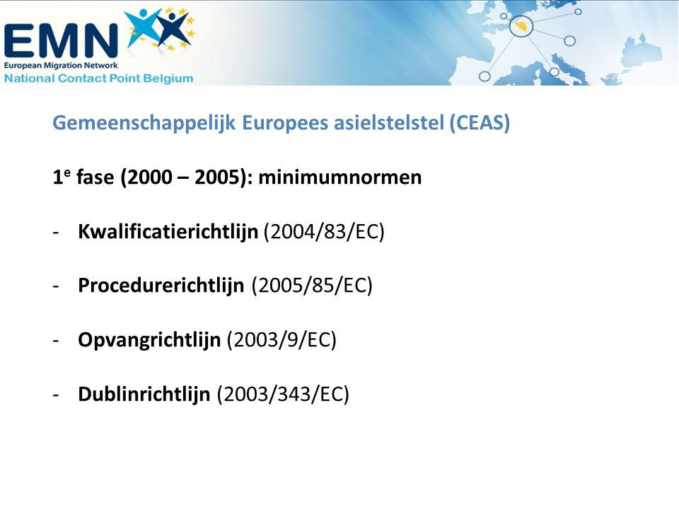 Gemeenschappelijk Europees asielstelstel (CEAS) 1 e fase (2000 – 2005): minimumnormen -Kwalificatierichtlijn (2004/83/EC) -Procedurerichtlijn (2005/85