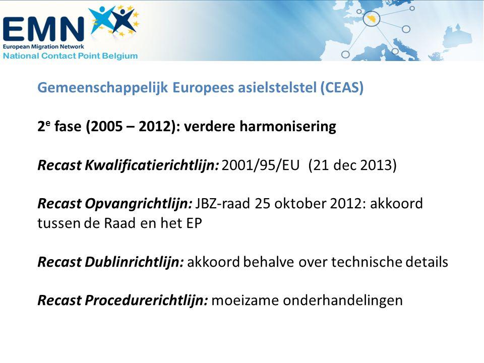 Gemeenschappelijk Europees asielstelstel (CEAS) 2 e fase (2005 – 2012): verdere harmonisering Recast Kwalificatierichtlijn: 2001/95/EU (21 dec 2013) R