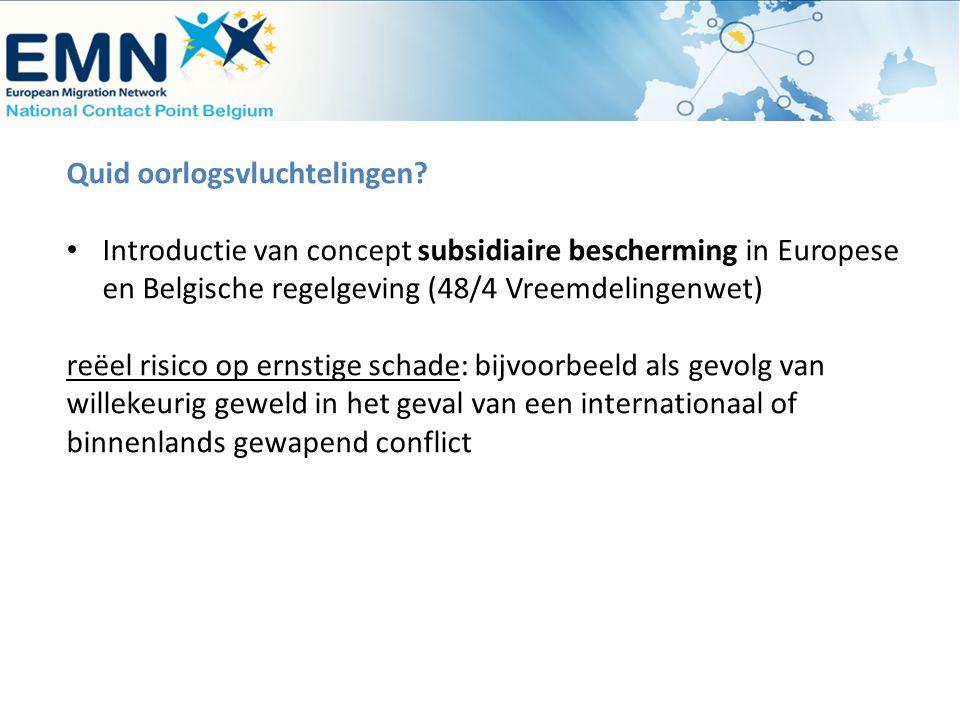 Quid oorlogsvluchtelingen? Introductie van concept subsidiaire bescherming in Europese en Belgische regelgeving (48/4 Vreemdelingenwet) reëel risico o