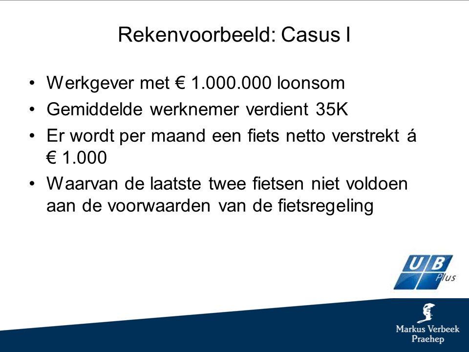 Rekenvoorbeeld: Casus I Werkgever met € 1.000.000 loonsom Gemiddelde werknemer verdient 35K Er wordt per maand een fiets netto verstrekt á € 1.000 Waarvan de laatste twee fietsen niet voldoen aan de voorwaarden van de fietsregeling