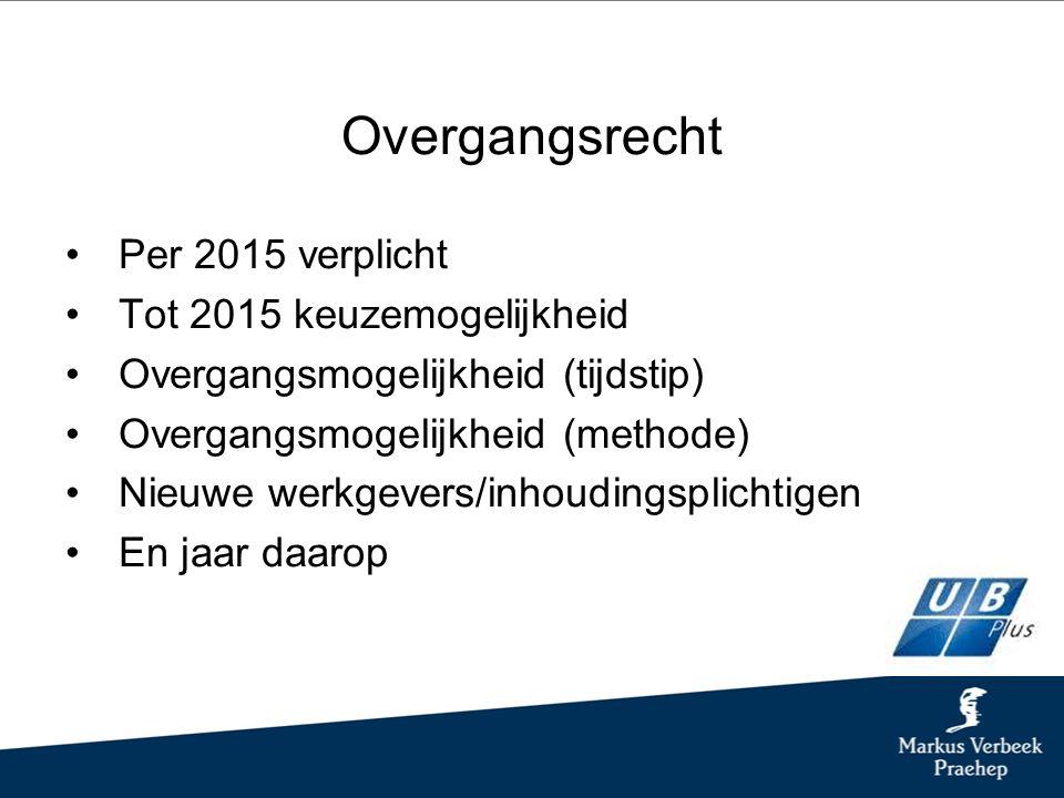 Overgangsrecht Per 2015 verplicht Tot 2015 keuzemogelijkheid Overgangsmogelijkheid (tijdstip) Overgangsmogelijkheid (methode) Nieuwe werkgevers/inhoudingsplichtigen En jaar daarop