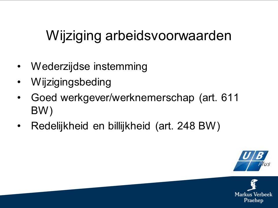 Wijziging arbeidsvoorwaarden Wederzijdse instemming Wijzigingsbeding Goed werkgever/werknemerschap (art.