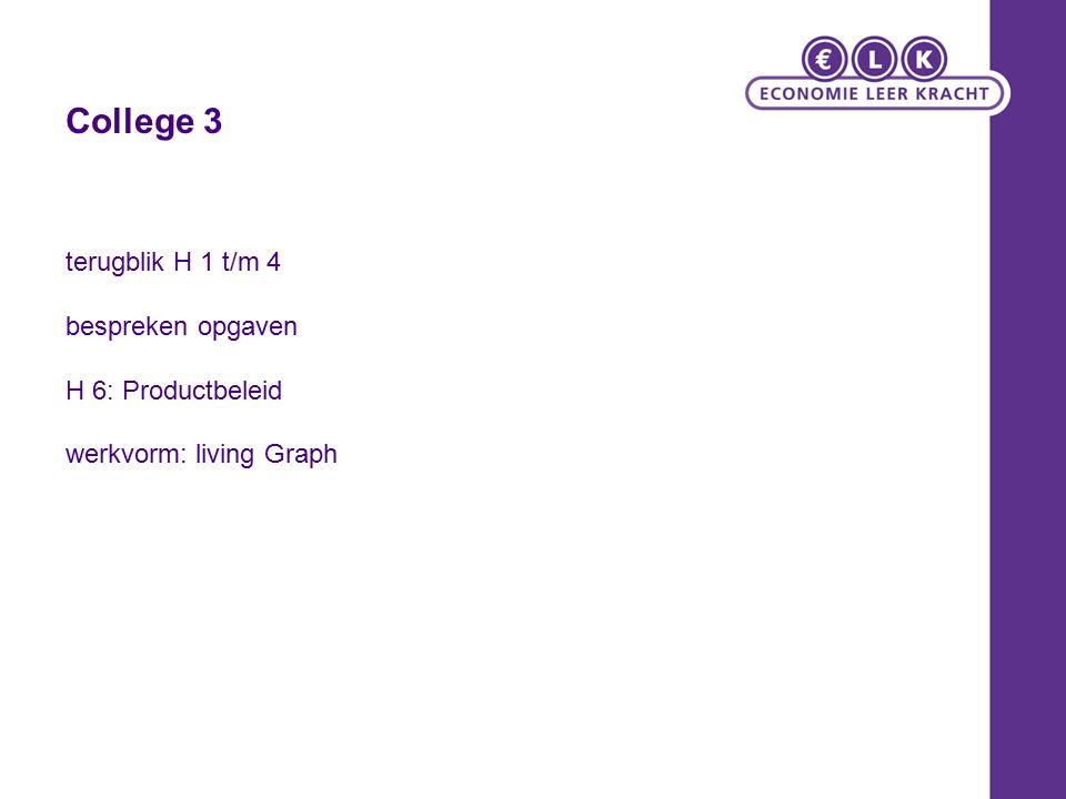 College 3 terugblik H 1 t/m 4 bespreken opgaven H 6: Productbeleid werkvorm: living Graph