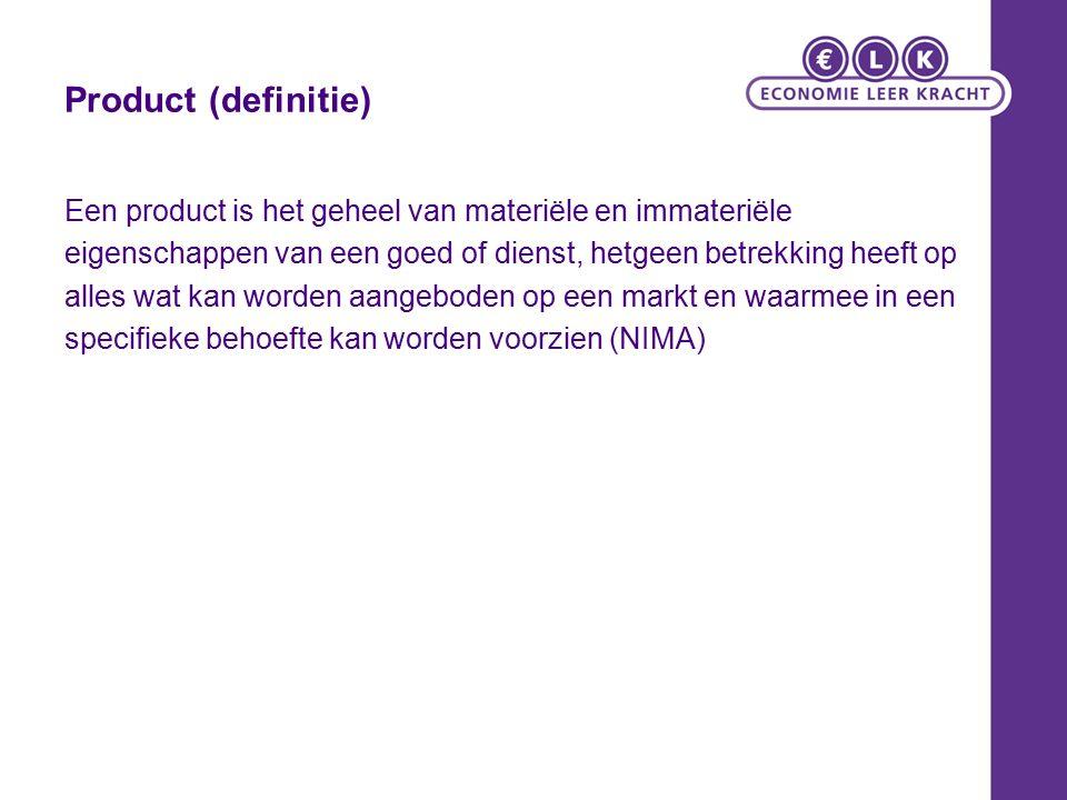 Product (definitie) Een product is het geheel van materiële en immateriële eigenschappen van een goed of dienst, hetgeen betrekking heeft op alles wat