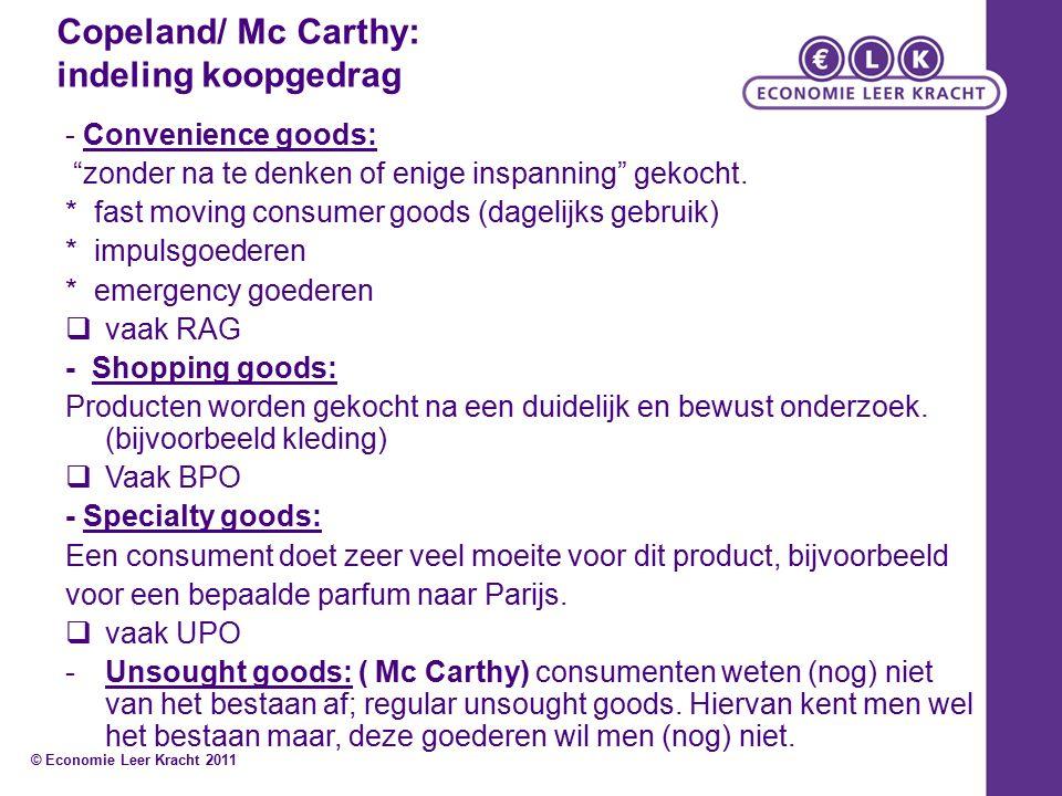 """Copeland/ Mc Carthy: indeling koopgedrag - Convenience goods: """"zonder na te denken of enige inspanning"""" gekocht. * fast moving consumer goods (dagelij"""