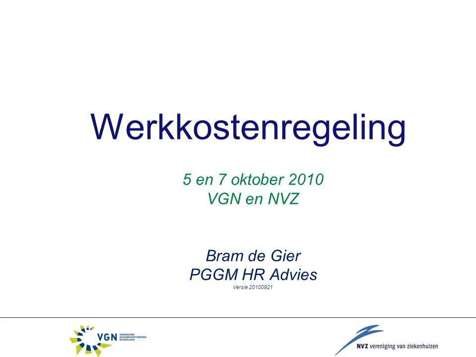 Werkkostenregeling 5 en 7 oktober 2010 VGN en NVZ Bram de Gier PGGM HR Advies Versie 20100921