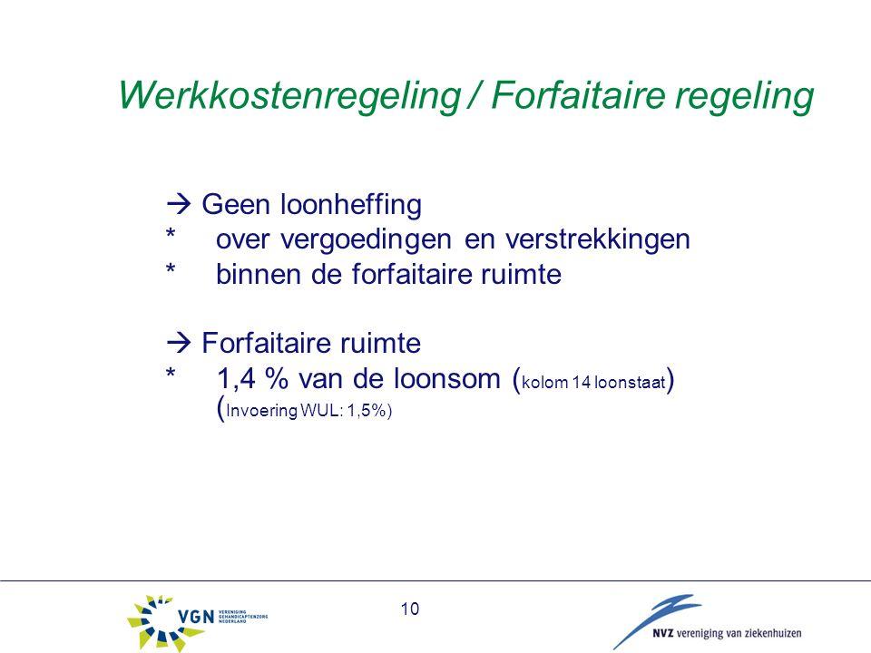 10 Werkkostenregeling / Forfaitaire regeling  Geen loonheffing * over vergoedingen en verstrekkingen *binnen de forfaitaire ruimte  Forfaitaire ruimte *1,4 % van de loonsom ( kolom 14 loonstaat ) ( Invoering WUL: 1,5%)