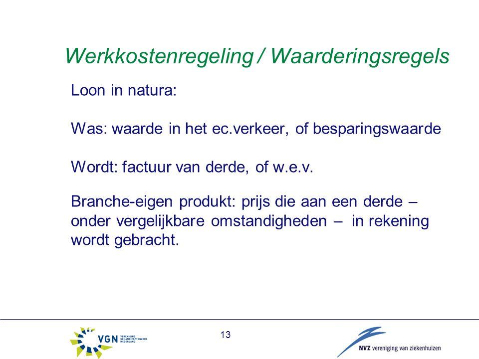 13 Werkkostenregeling / Waarderingsregels Loon in natura: Was: waarde in het ec.verkeer, of besparingswaarde Wordt: factuur van derde, of w.e.v.
