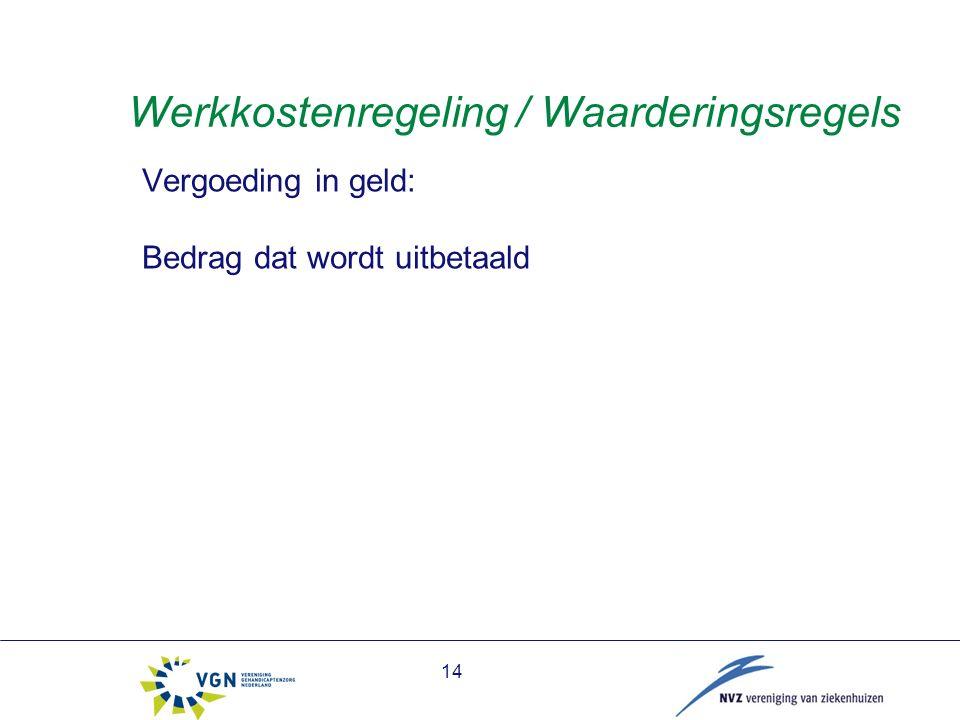 14 Werkkostenregeling / Waarderingsregels Vergoeding in geld: Bedrag dat wordt uitbetaald