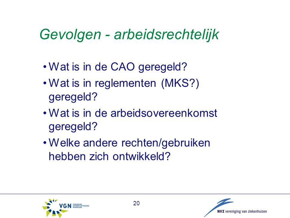Gevolgen - arbeidsrechtelijk Wat is in de CAO geregeld.