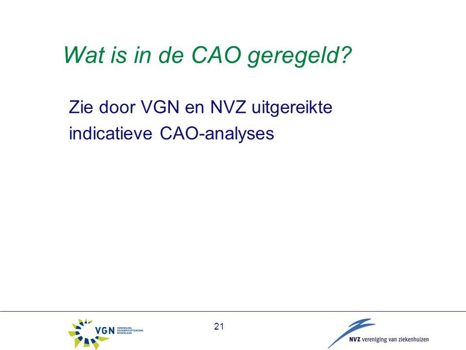 Wat is in de CAO geregeld Zie door VGN en NVZ uitgereikte indicatieve CAO-analyses 21
