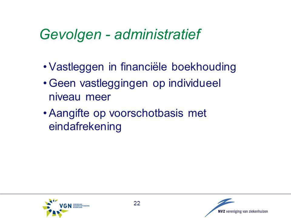 Gevolgen - administratief Vastleggen in financiële boekhouding Geen vastleggingen op individueel niveau meer Aangifte op voorschotbasis met eindafrekening 22
