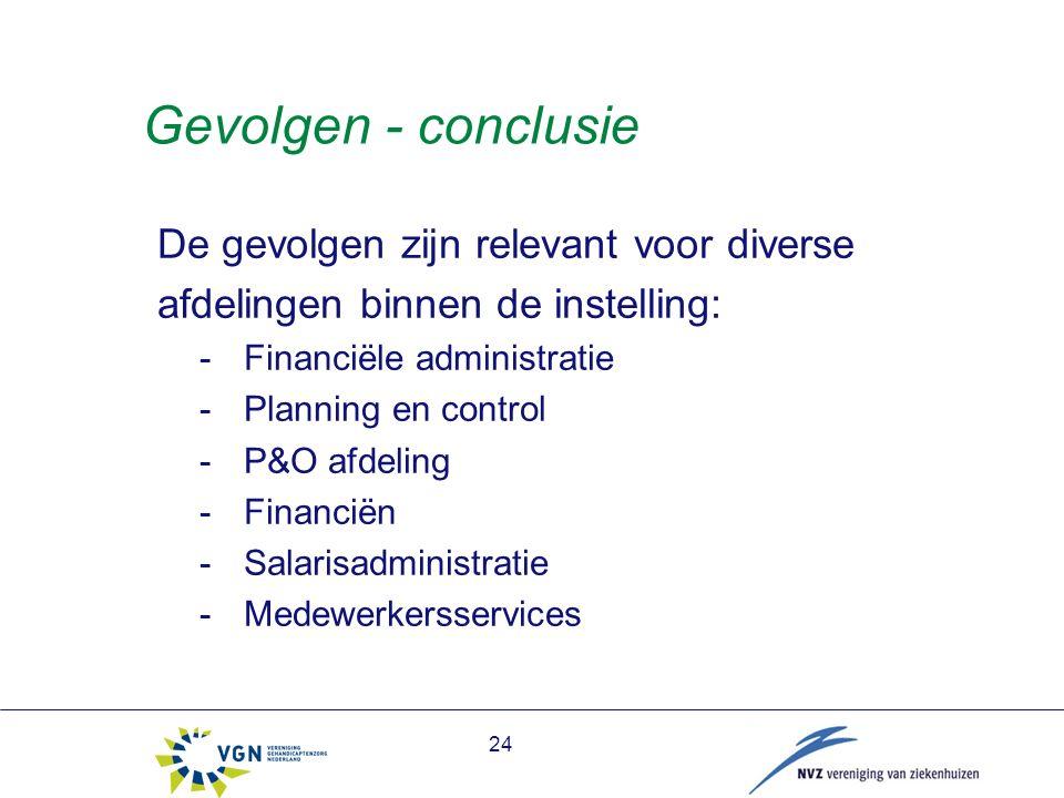 Gevolgen - conclusie De gevolgen zijn relevant voor diverse afdelingen binnen de instelling: -Financiële administratie -Planning en control -P&O afdeling -Financiën -Salarisadministratie -Medewerkersservices 24