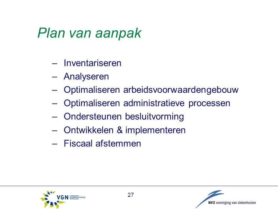27 Plan van aanpak –Inventariseren –Analyseren –Optimaliseren arbeidsvoorwaardengebouw –Optimaliseren administratieve processen –Ondersteunen besluitvorming –Ontwikkelen & implementeren –Fiscaal afstemmen