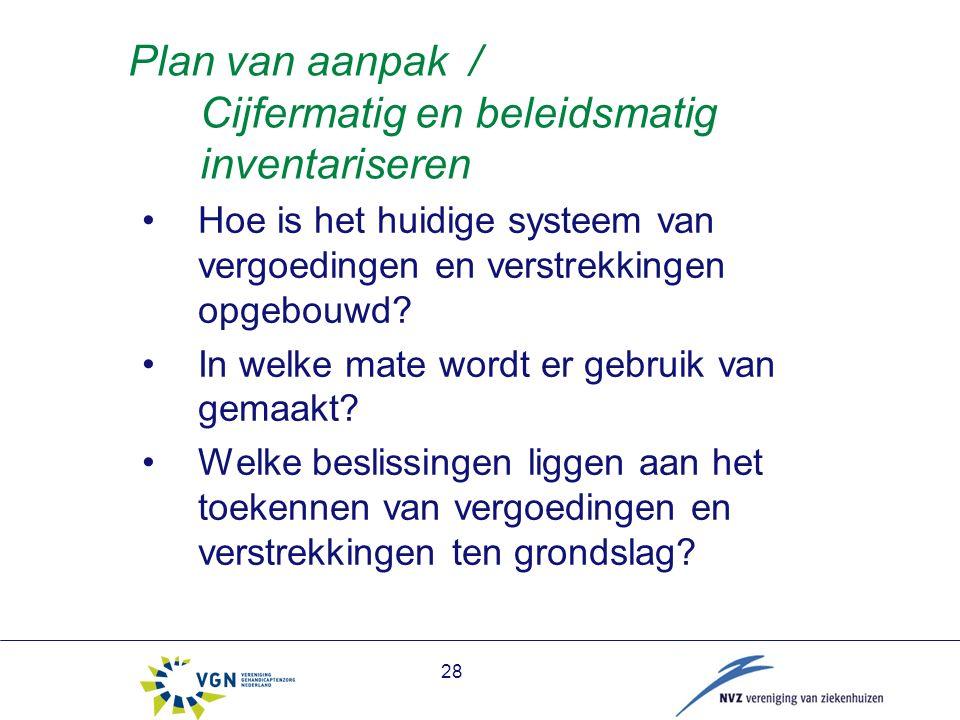 28 Plan van aanpak / Cijfermatig en beleidsmatig inventariseren Hoe is het huidige systeem van vergoedingen en verstrekkingen opgebouwd.