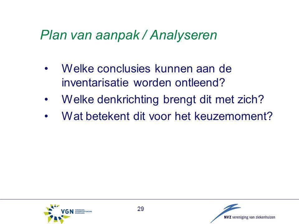 29 Plan van aanpak / Analyseren Welke conclusies kunnen aan de inventarisatie worden ontleend.