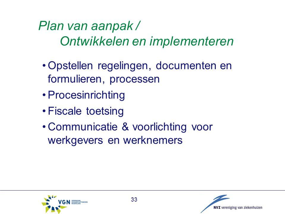 33 Plan van aanpak / Ontwikkelen en implementeren Opstellen regelingen, documenten en formulieren, processen Procesinrichting Fiscale toetsing Communicatie & voorlichting voor werkgevers en werknemers