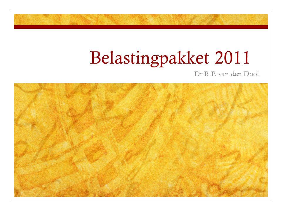 Willekeurige afschrijving Ook in 2011 toepassing willekeurige afschrijving als onderdeel crisispakket