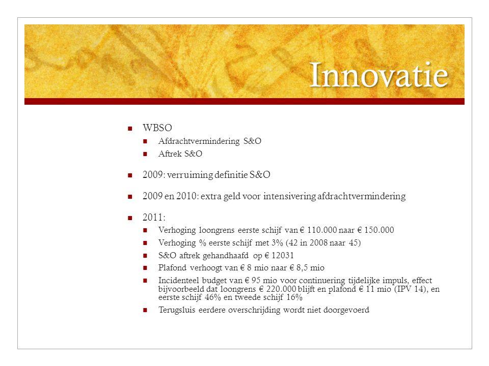 Innovatie WBSO Afdrachtvermindering S&O Aftrek S&O 2009: verruiming definitie S&O 2009 en 2010: extra geld voor intensivering afdrachtvermindering 201