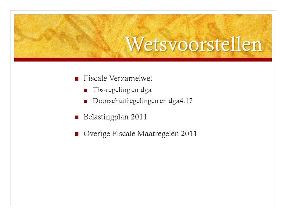Innovatie WBSO Afdrachtvermindering S&O Aftrek S&O 2009: verruiming definitie S&O 2009 en 2010: extra geld voor intensivering afdrachtvermindering 2011: Verhoging loongrens eerste schijf van € 110.000 naar € 150.000 Verhoging % eerste schijf met 3% (42 in 2008 naar 45) S&O aftrek gehandhaafd op € 12031 Plafond verhoogt van € 8 mio naar € 8,5 mio Incidenteel budget van € 95 mio voor continuering tijdelijke impuls, effect bijvoorbeeld dat loongrens € 220.000 blijft en plafond € 11 mio (IPV 14), en eerste schijf 46% en tweede schijf 16% Terugsluis eerdere overschrijding wordt niet doorgevoerd