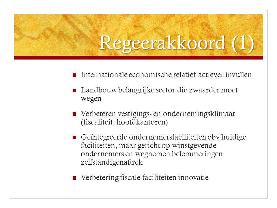 Regeerakkoord (1) Internationale economische relatief actiever invullen Landbouw belangrijke sector die zwaarder moet wegen Verbeteren vestigings- en ondernemingsklimaat (fiscaliteit, hoofdkantoren) Geïntegreerde ondernemersfaciliteiten obv huidige faciliteiten, maar gericht op winstgevende ondernemers en wegnemen belemmeringen zelfstandigenaftrek Verbetering fiscale faciliteiten innovatie