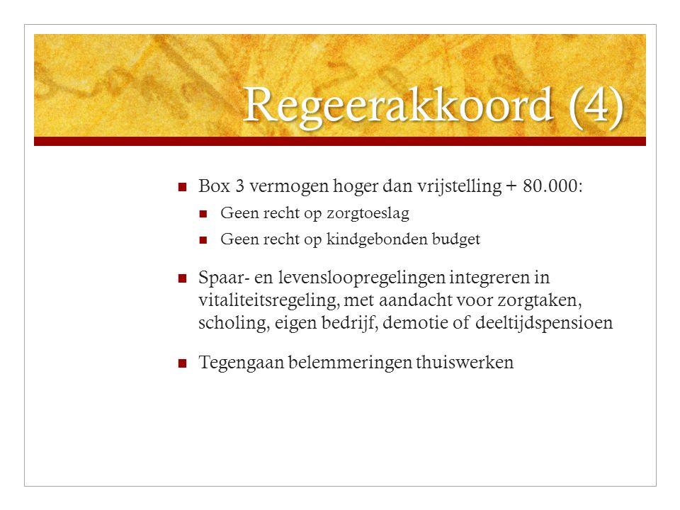 Regeerakkoord (4) Box 3 vermogen hoger dan vrijstelling + 80.000: Geen recht op zorgtoeslag Geen recht op kindgebonden budget Spaar- en levenslooprege