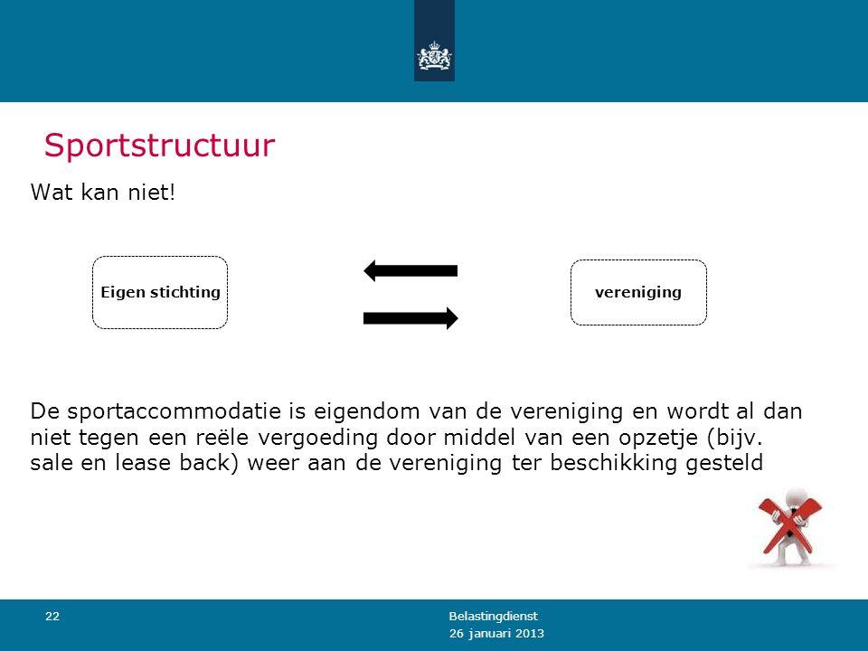 Sportstructuur 26 januari 2013 Belastingdienst22 Eigen stichting vereniging Wat kan niet.