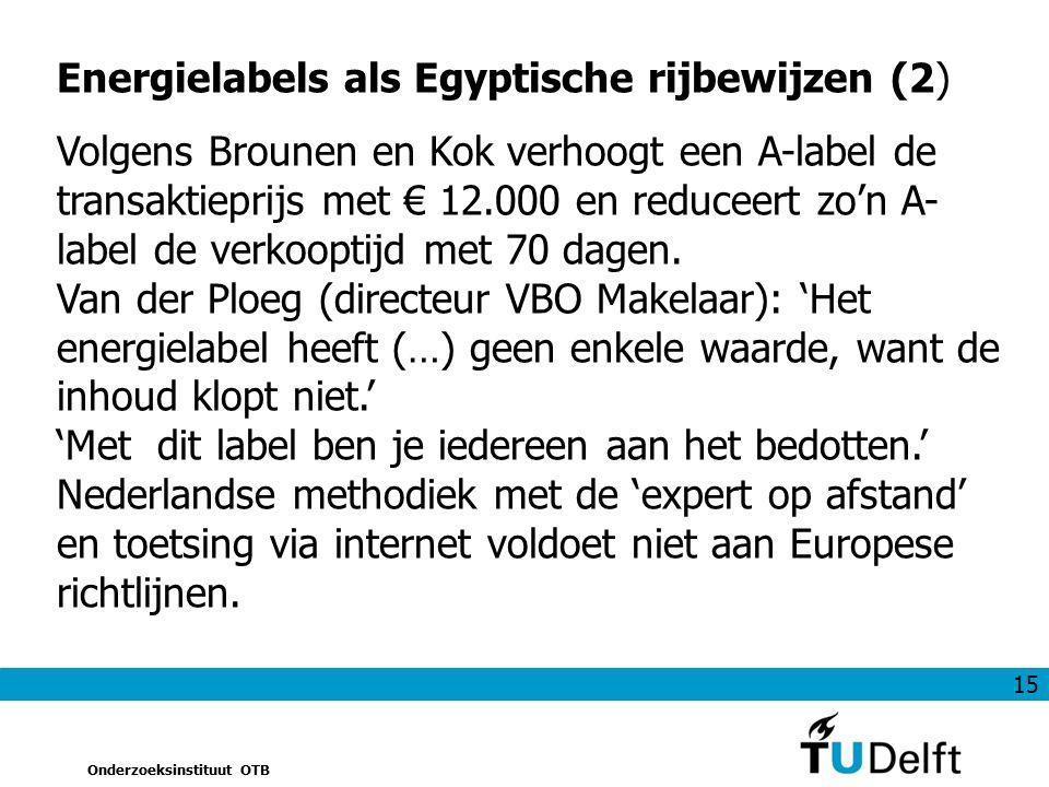 15 Onderzoeksinstituut OTB Energielabels als Egyptische rijbewijzen (2) Volgens Brounen en Kok verhoogt een A-label de transaktieprijs met € 12.000 en reduceert zo'n A- label de verkooptijd met 70 dagen.