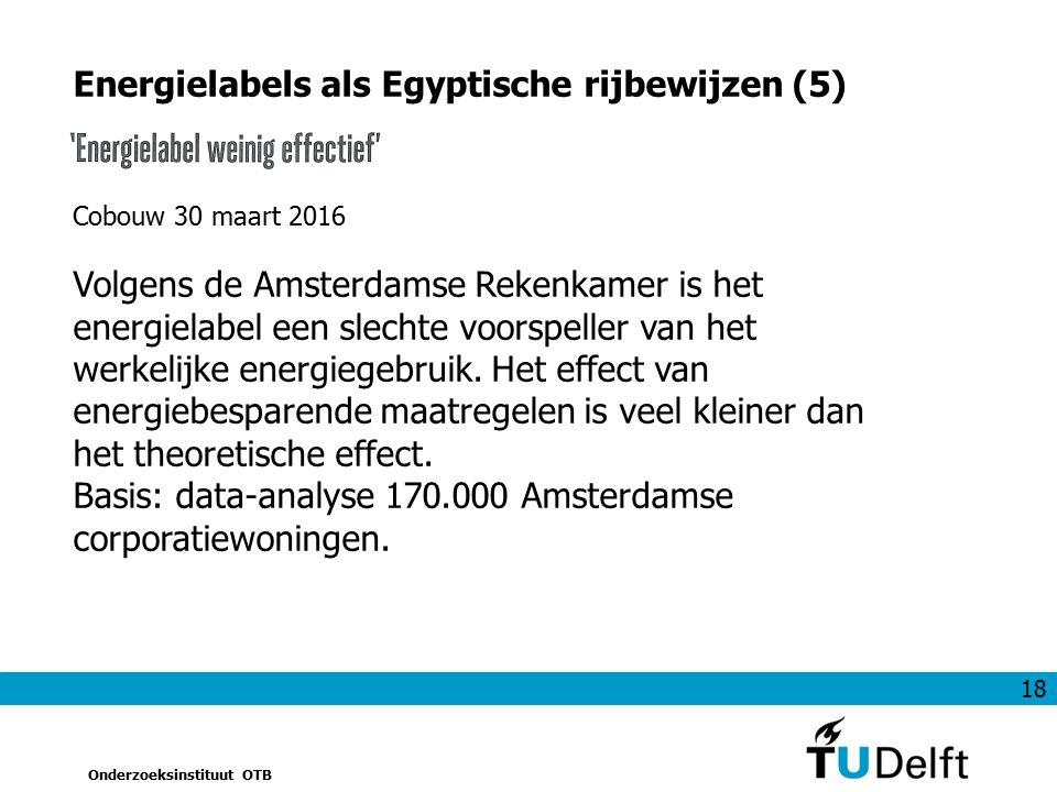 18 Onderzoeksinstituut OTB Energielabels als Egyptische rijbewijzen (5) Cobouw 30 maart 2016 Volgens de Amsterdamse Rekenkamer is het energielabel een