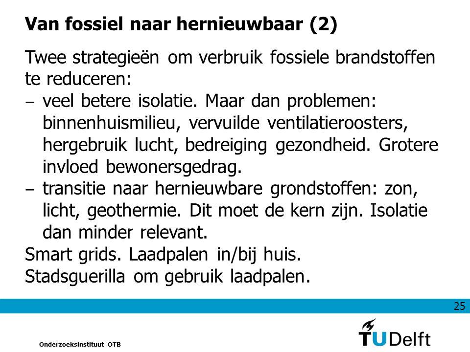 25 Onderzoeksinstituut OTB Van fossiel naar hernieuwbaar (2) Twee strategieën om verbruik fossiele brandstoffen te reduceren: ‒ veel betere isolatie.