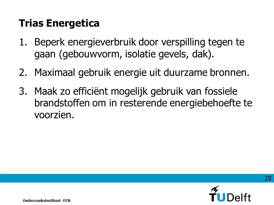 28 Onderzoeksinstituut OTB Trias Energetica 1.Beperk energieverbruik door verspilling tegen te gaan (gebouwvorm, isolatie gevels, dak). 2.Maximaal geb