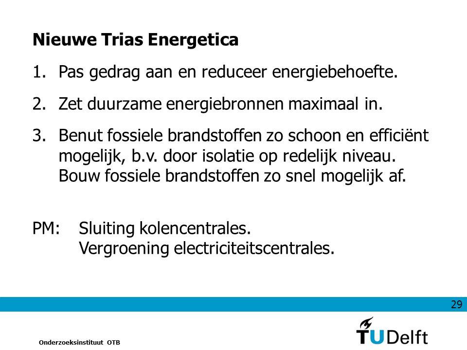 29 Onderzoeksinstituut OTB Nieuwe Trias Energetica 1.Pas gedrag aan en reduceer energiebehoefte. 2.Zet duurzame energiebronnen maximaal in. 3.Benut fo